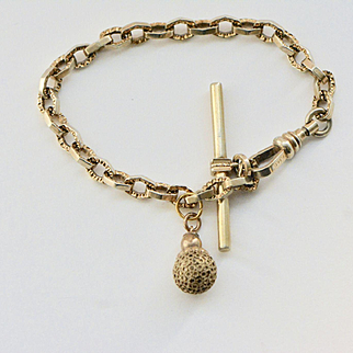 Victorian Gold Fill Watch Chain Bracelet with Ball Fob, Antique Bracelet, Oscar M. Draper