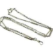 """Edwardian White Gold Fill Watch Guard Chain Necklace - 25"""""""