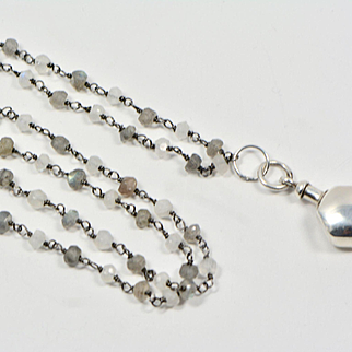 Art Deco Sterling Silver Perfume Charm Pendant with Labradorite and Moonstone Necklace, Charm Necklace, 1920s