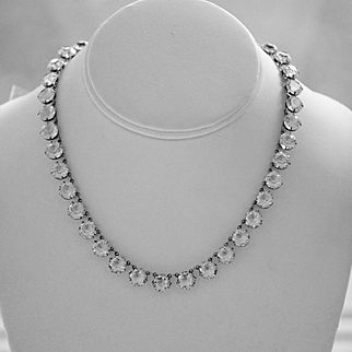 Art Deco Sterling Riviere Clear Paste Necklace, Sterling Silver Necklace, 1920s, Wedding