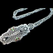 Art Deco Filigree Pendant Necklace, 1920s Necklace, Enamel Necklace, Chromium Necklace