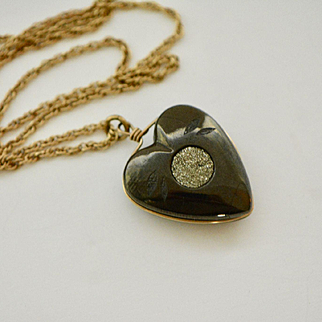 Vintage Hematite and Pyrite Heart Pendant Necklace, 1940s Necklace, Heart Pendant