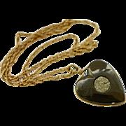 Vintage Hematite and Pyrite Heart Pendant Necklace, 1940s Necklace, Heart Pendant
