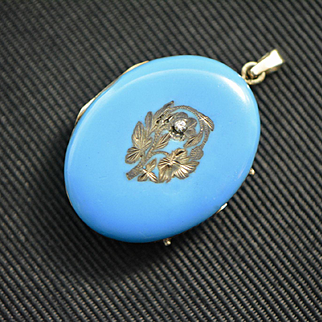 Victorian 14k Gold and Diamond Blue Enamel Pendant Locket, Antique Locket, Flora and Fauna Motif Locket, Oval Locket