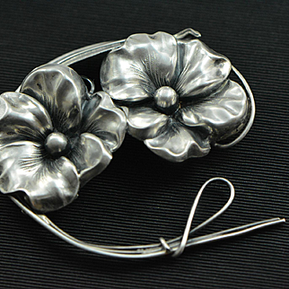 Art Nouveau Large Sterling Silver Double Flower Brooch, Silver Pin, Antique Brooch