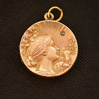 Art Nouveau Lady Locket with Paste Stone, Gold Fill Locket, Wedding, Bridal