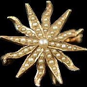 Victorian 10k Gold Seed Pearl Starburst Brooch, Sunburst Brooch, Antique Pin, Wedding, Bridal