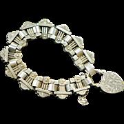 Antique Victorian Sterling Heart Book Chain Bracelet, Heart Padlock Bracelet, Engraved Heart Bracelet