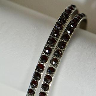 Victorian Bohemian Garnet Pair of Sterling Bangles, Wedding Bracelets