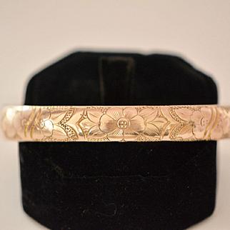 Victorian Engraved Flower Bangle, Rose Gold Fill Bangle Bracelet, Wedding, Bridal