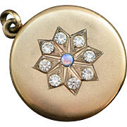 Edwardian Locket with Star Shaped Center - Paste and Opal Stones, 1911 Locket, Gold Photo Locket