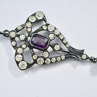 Early Victorian Sterling Paste and Amethyst Glass Pendant