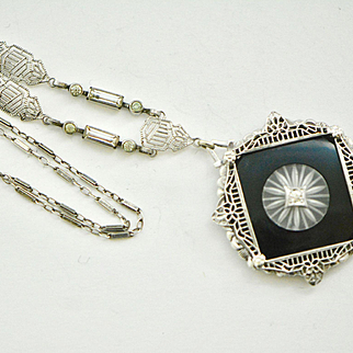 Art Deco Sterling Camphor and Onyx Necklace, Camphor Necklace,  Filigree Pendant, Bridal Jewelry, 1918