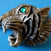 HATTIE CARNEGIE Tiger With Green Glass Eye Brooch (Book Piece)