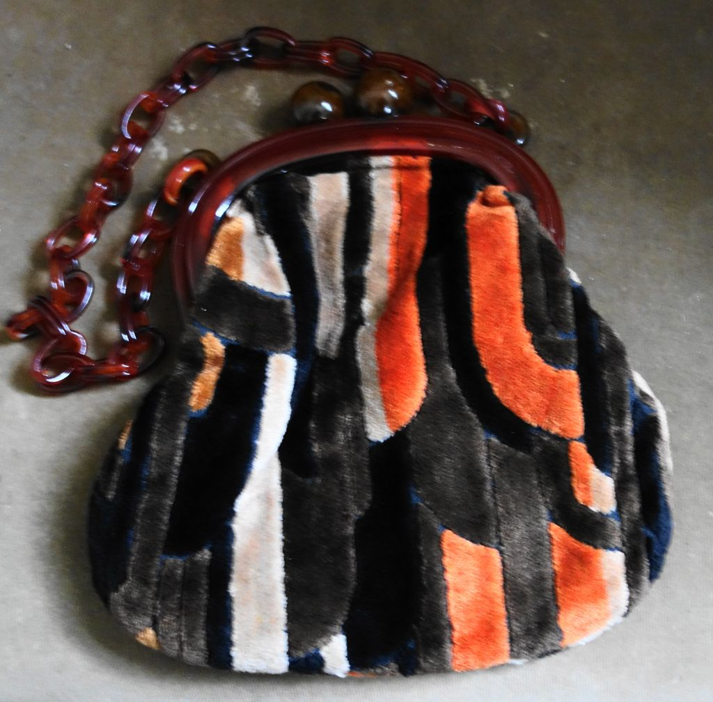 Chenille Patchwork Style Handbag/Lucite Frame And Handle