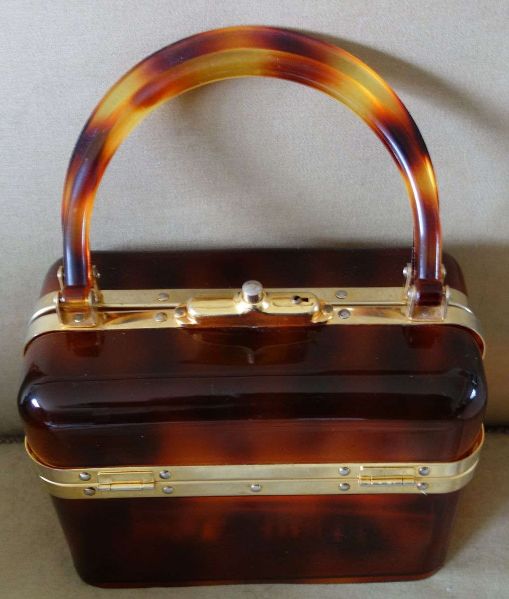 50s Lucite Faux Brown Tortoise Box Purse (Made in France)