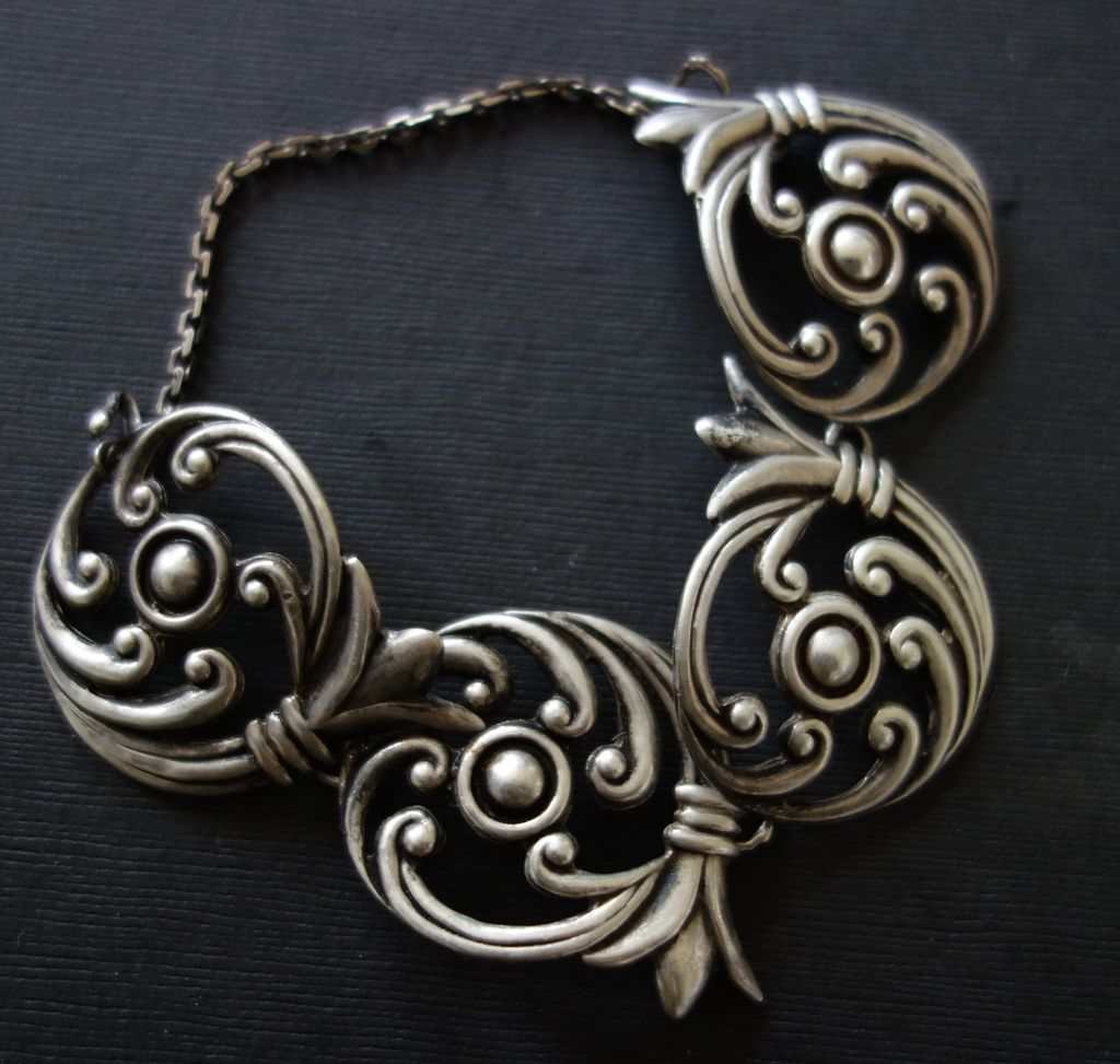 Los Castillo Taxco Mexico Ornate Sterling Silver Bracelet