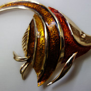 Boucher Enamel Angel Fish Brooch