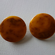 Marbled Bakelite Pierced Earrings
