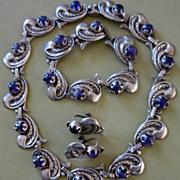 Taxco Mexican Sterling Silver & Amethyst Necklace, Bracelet & Earrings