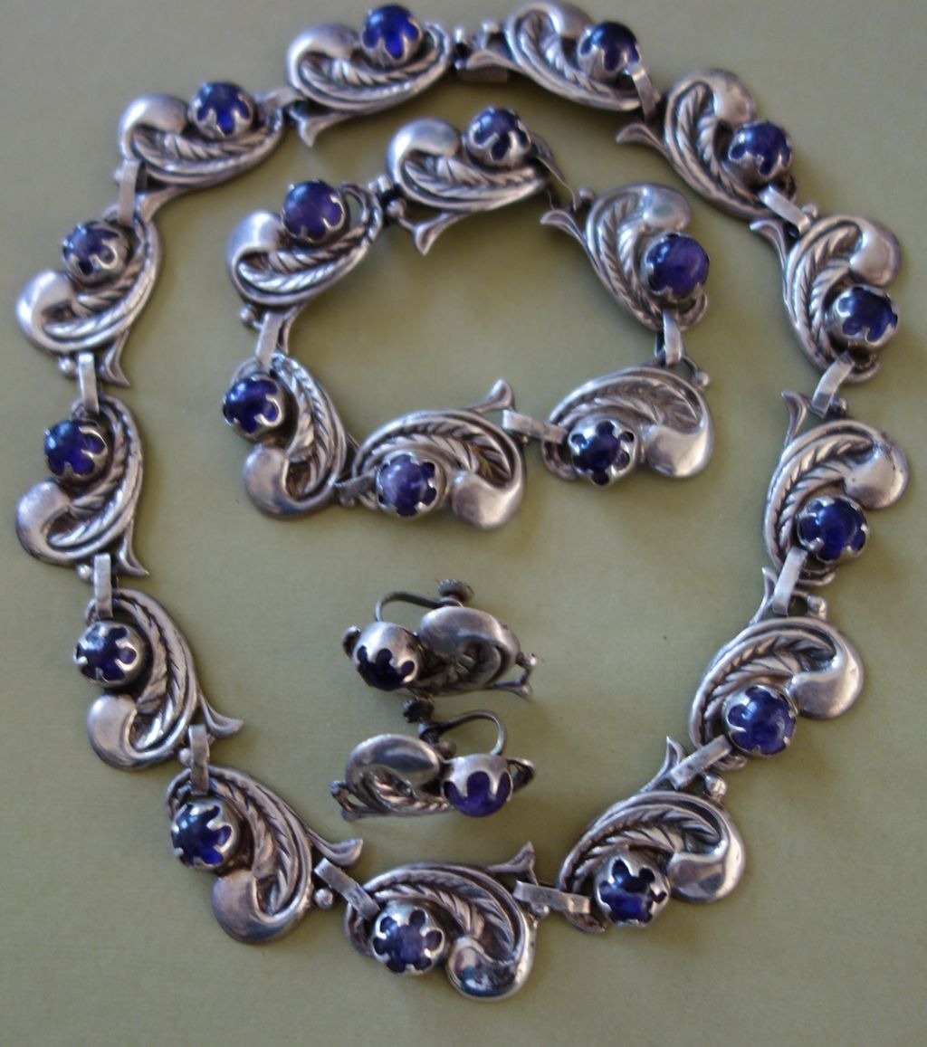 taxco mexican sterling silver amethyst necklace