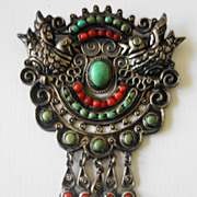Matilde Poulat/Salas Mexican Sterling Silver Dove Coral/Turquoise Brooch