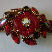Rare EDLEE Red Rhinestone Fluted Art Glass Bracelet