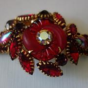 Rare EDLEE Red Rhinestone Fluted Art Glass Bracelet
