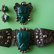 MEXICAN Early Silver Carved Green Onyx Bracelet/Pin/Earrings