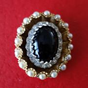 HAR  Black Glass Cabochon & Faux Pearl Oval Brooch