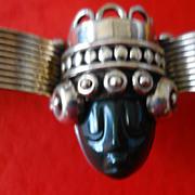 Los Ballesteros Taxco Mexican Sterling Silver Deity Bracelet