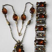 NEIGER 1920s Czech Deco Topaz Glass Enamel Dot & Leaf Necklace & Bracelet