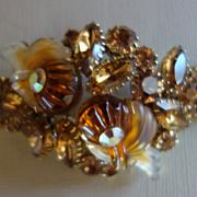 EDLEE Topaz Molded Glass & Rhinestone Bracelet