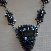 MEXICAN Sterling Silver and Carved Black Onyx Necklace