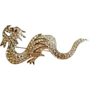 POLCINI Huge Rhinestone Dragon or Sea Serpent Pin