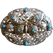 NEIGER Rare Ornate Butterfly Brooch
