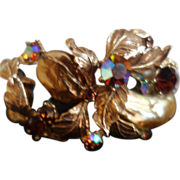 HAR Clamper Bracelet (Striking Golds, Browns, Aurora Borealis & Faux Pearl Stones)