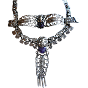 MEXICAN Taxco Sterling Silver Amethyst Mixtec Necklace/Bracelet Set
