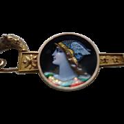 Antique Victorian 18K Solid Gold Etruscan Revival Portrait Limoges Enamel Brooch