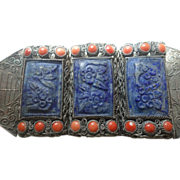 Chinese Silver-Plated Filigree Bracelet With 18 Red Coral and 3 Blue Stones Carved with Flowers