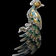 MB BOUCHER Rare Green & Yellow Metallic Enameled Bird of Paradise Brooch
