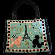 Hand-Stitched Needlepoint Poodle Paris Purse/Handbag Lucite Handles