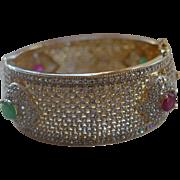Royal Mogul Ruby Gripoix Crystal Pave 22K Plated Cuff Bracelet
