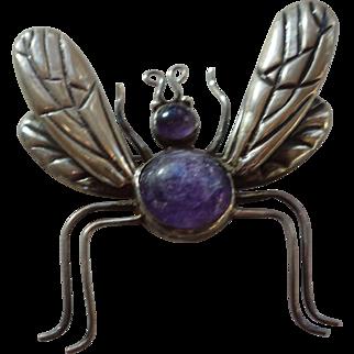 LOS CASTILLO Mexico Sterling Silver Amethyst Stones Big Bug Brooch/Pin