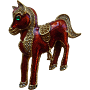 CINER (Signed) Figural Pony With Saddle Enamel/Rhinestone Pin/Brooch