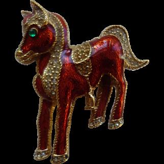 CINER (Signed) Figural Pony With Saddle Enamel/Rhinestone Pin/Brooch