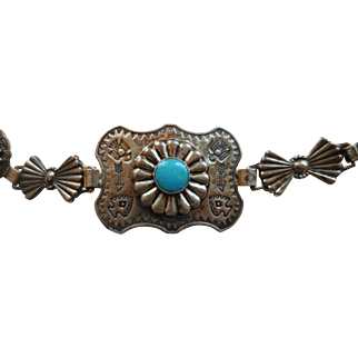 """NAVAJO Sterling Silver Turquoise-Colored Cabochons Stamped Concho Belt (31"""")"""