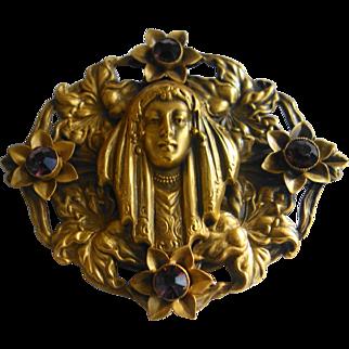 """JOSEFF OF HOLLYWOOD Gypsy Woman """"Russian Gold"""" & Amethyst Pin/Brooch"""