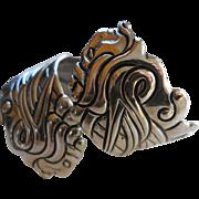 LOS CASTILLO Pre-1948 Mexico 925 Sterling Hinged Tribal Repousse Clamper Bracelet