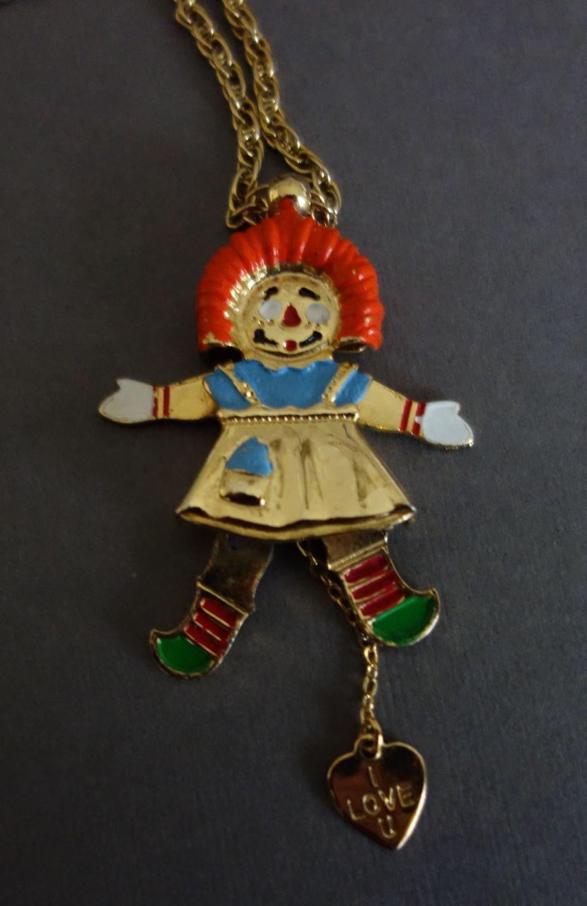 Hattie Carnegie Raggedy Ann Mechanical Necklace